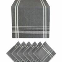 Design Imports KCOS11332 French Stripe Chambray Table Napkin Set, Grey - Set of 7 - 1