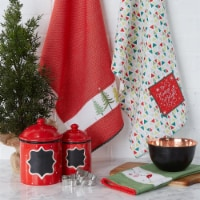 Design Imports Assorted Festive Christmas Embellished Dishtowel - Set of 3