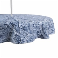 Design Imports CAMZ11652 60 in. Round Blue Paisley Print Outdoor Tablecloth With Zipper