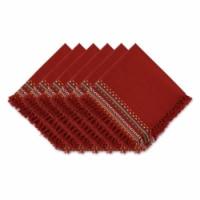 Design Imports CAMZ11663 Red Chipotle Hacienda Stripe Fringed Napkin - Set of 6