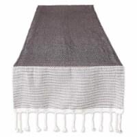 Design Imports CAMZ11793 15 x 72 in. Black Bordered Dobby Table Runner