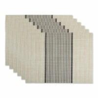Design Imports CAMZ11803 Black Middle Stripe PVC Woven Placemat - Set of 6
