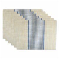 Design Imports CAMZ11804 French Blue Middle Stripe PVC Woven Placemat - Set of 6