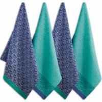 "Dii Blue Scallops Dishtowel Set, 18X28"", 4 Piece"