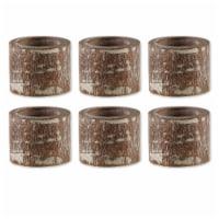 Design Imports CAMZ12240 White Wash Finish Wood Band Napkin Ring - Set of 6