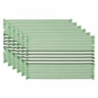 DII Grass Green Stripes With Fringe Placemat (Set of 6) - 1