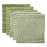 Design Imports CAMZ12365 12 x 12 in. Assorted Antique Green Dishcloth - Set of 5