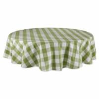 Design Imports CAMZ12411 70 in. Antique Green Buffalo Check Round Tablecloth