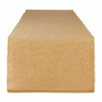 Dii Honey Gold & White 2-Tone Ribbed Table Runner - 1