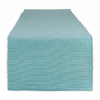 Dii Aqua & White 2-Tone Ribbed Table Runner
