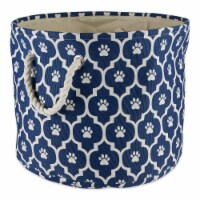 DII Polyester Pet Bin Lattice Paw Nautical Blue Round Large - 1