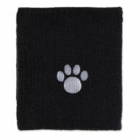 Bone Dry Black Embroidered Paw Pet Towel