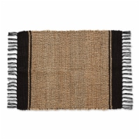 Dii Black With Natural Jute Stripes Hand-Loomed Rug
