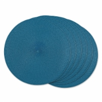 STORM BLUE ROUND PP WOVEN PLACEMAT SET/6