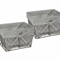 Design Imports Z01362 Medium Rustic Bronze Chicken Wire Black & White Ticking Stripe Liner - - 1