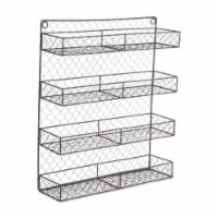 Design Imports Z01920 Double Wide 4 Row Chicken Wire Spice Rack - 1