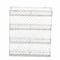 Design Imports Antique White 4 Row Chicken Wire Spice Rack - 1