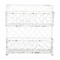 Design Imports Z01926 Antique White 2 Row Chicken Wire Spice Rack - 1