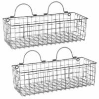 Design Imports Medium Grey Wire Wall Basket - Set of 2
