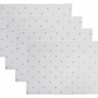 Design Imports Z02221 Reversible Polka Dot Placemat - Metallic Gold & White - Set of 4