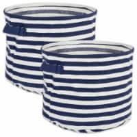 DII Pe Coated Herringbone Woven Cotton Laundry Bin Stripe French Blue Round Small  (Set of 2) - 1