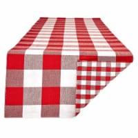 Design Imports Z02403 14 x 108 in. Red & White Reversible Gingham & Buffalo Check Table Runne