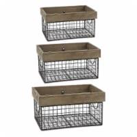 Design Imports Z02430 Asst Antique Silver Farmhouse Basket - Set of 3