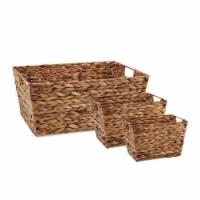DII Asst Dark Brown Water Hyacinth Basket Set/3 - 1