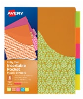 Avery Big Tab Insertable Plastic Dividers with Pocket - Multi-Color