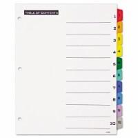 Office Essentials Index,Bndr,10tab St,Col 11671 - 1