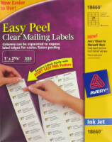 Avery Easy Peel Ink Jet Mailing Labels - 300 Pack - Clear