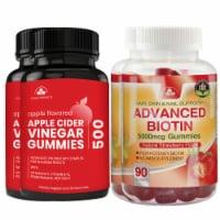 Totally Products Apple Cider Vinegar Gummies plus Biotin Gummies Combo Pack (2 sets) - 2 sets