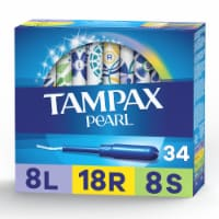 Tampax Pearl Light Regular & Super Absorbency Unscented Tampons