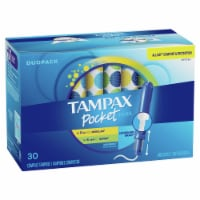 Tampax Pocket Pearl Regular & Super Absorbency Unscented Compact Tampons - 30 ct