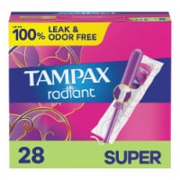 Tampax Radiant Super Absorbency Unscented Tampons