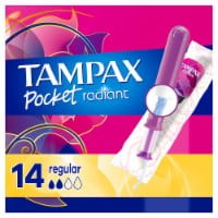 Tampax Pocket Radiant Unscented Regular Compact Tampons - 14 ct