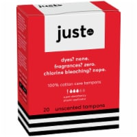 just. 100% Cotton Core Super Absorbency Unscented Tampons - 20 ct