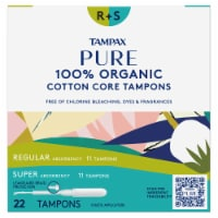 Tampax Pure 100% Organic Cotton Core Regular & Super Absorbency Tampons - 22 ct
