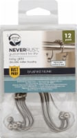 Zenna Home Easy-Glide Double Roller Shower Curtain Hooks - Brushed Nickel