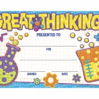 Eureka 1593732 Color My World Great Thinking Recognition Award, 8.50 x 5.50 in.