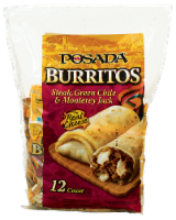 Posada Steak Green Chili & Monterey Jack Burrito 12 Count