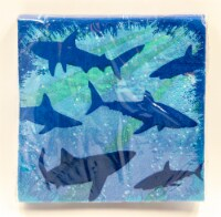 Creative Converting Shark Splash Beverage Napkins - Blue
