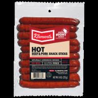 Klement's Hot Beef & Pork Snack Sticks - 8 oz
