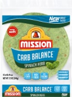 Mission Carb Balance Spinach Herb Tortilla Wraps 8 Count