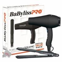 Babylisspro Porcelain Ceramic Carrera2 Hair Dryer & 1 Inch Straightening Iron Combo Black - 1