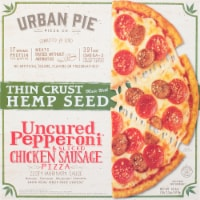 Urban Pie Pizza Co. Thin Crust Hemp Seed Uncured Pepperoni & Sliced Chicken Sausage Pizza