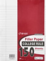 Top Flight Standards College Rule Filler Paper - 150 Sheets - White