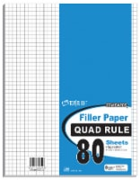 Top Flight Standards Quad Ruled Filler Paper - 80 pk - White
