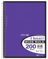 Top Flight Wide Rule 5-Subject Notebook - 200 Sheets - Assorted
