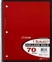 Top Flight College Ruled 1-Subject Notebook - 70 Sheets - Assorted